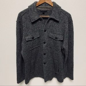 John Varvatos Star USA Gray Button Down Sweater L